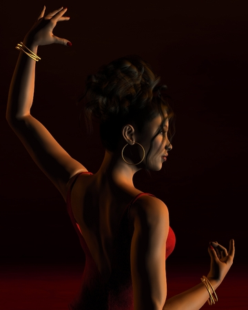 Portrait illustration of a Spanish Flamenco dancer on stage with dramatic lighting, back view, 3d digitally rendered illustration