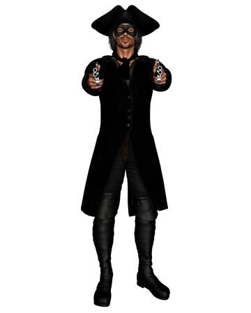 brigand: Illustration of a highwayman pointing a pair of pistols, 3d digitally rendered illustration