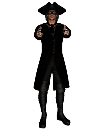 Illustration of a highwayman pointing a pair of pistols, 3d digitally rendered illustration