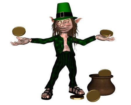 st  patrick s day: Drunken leprechaun with coins and a pot of gold for St  Patrick s Day, 3d digitally rendered illustration