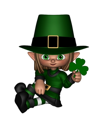 Cute toon Irish leprechaun holding a shamrock leaf, for St  Patrick s Day, 3d digitally rendered illustration Stock Photo