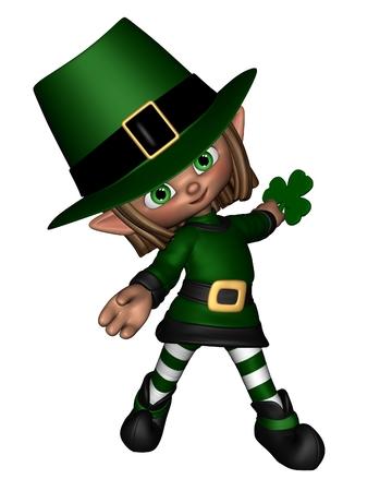 imp: Cute toon Irish leprechaun holding a shamrock leaf, for St  Patrick s Day, 3d digitally rendered illustration Stock Photo
