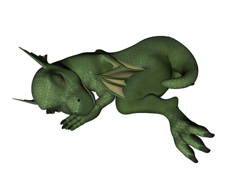 Cute toon-style baby green dragon curled up fast asleep, 3d digitally rendered illustration illustration