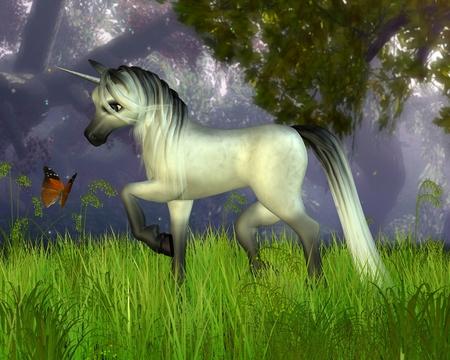 dapple horse: Cute toon style unicorn in a fantasy woodland setting, 3d digitally rendered illustration