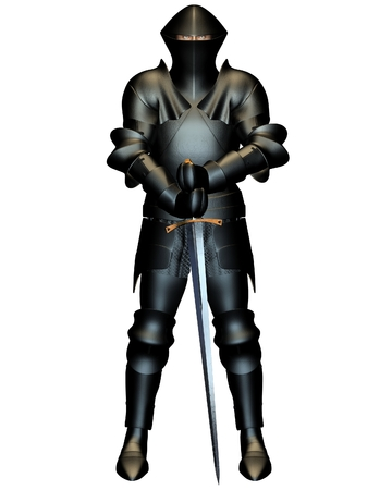 mediaeval: Illustration of a Mediaeval Knight in black armour, holding a sword, 3d digitally rendered illustration