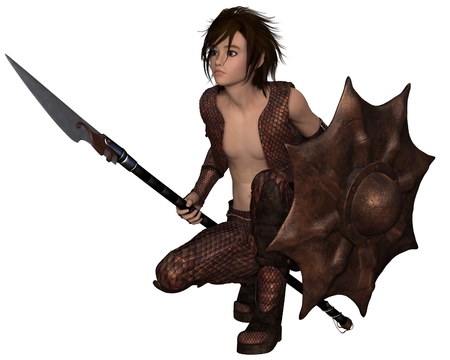 Fantasy illustration of a warrior elf boy wearing bronze dragon scale armour and holding a spear and shield, crouching down, 3d digitally rendered illustration