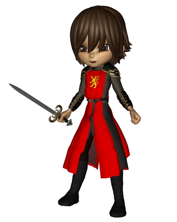 3d lion: Cute toon knight in chainmail and red lion tabard, holding a sword, 3d digitally rendered illustration Stock Photo