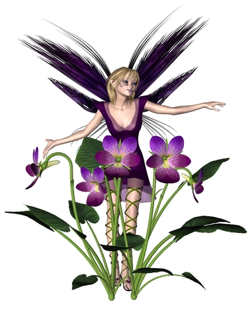 fey: Fantasy illustration of a pretty blonde white Violet Fairy with spring violets, 3d digitally rendered illustration