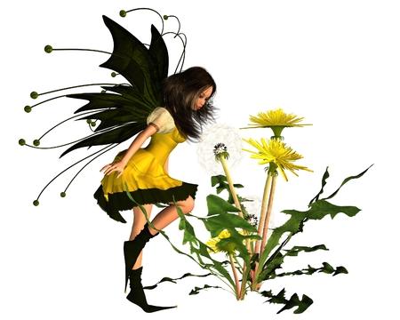 springtime: Fantasy illustration of a springtime Dandelion Fairy blowing dandelion seeds, 3d digitally rendered illustration