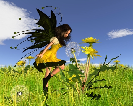 springtime: Fantasy illustration of a springtime Dandelion Fairy blowing dandelion seeds in a spring scene, 3d digitally rendered illustration Stock Photo