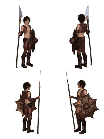 Fantasy illustration of a warrior elf boy wearing bronze dragon scale armour and holding a spear and shield, set of four character views, 3d digitally rendered illustration illustration