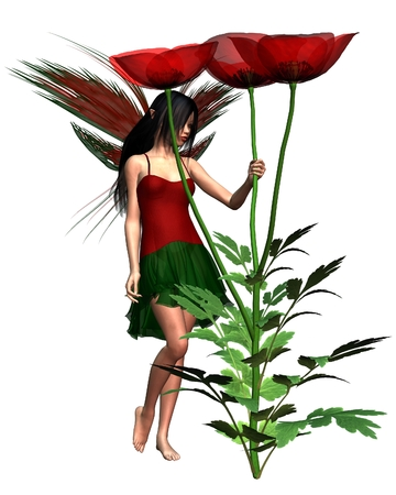 Fantasy illustration of a dark haired fairy holding a red field poppy, 3d digitally rendered illustration Stock Photo