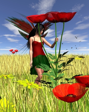 fey: Fantasy illustration of a dark haired fairy holding a red field poppy with a summer cornfield background, 3d digitally rendered illustration
