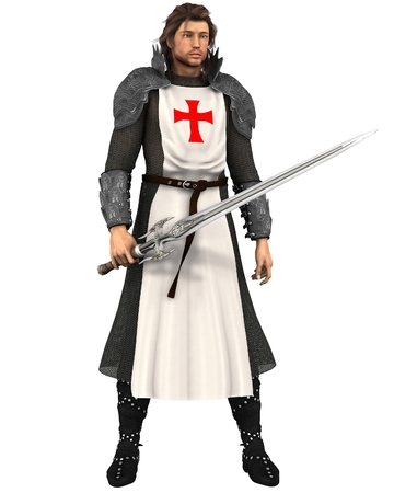 longsword: Illustration of St. George, the Patron Saint of England (St. Georges Day is April 23rd), 3d digitally rendered illustration Stock Photo