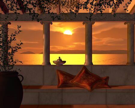 veranda: View of a golden sunset through the pillars of a Roman Villa Terrace, 3d digitally rendered illustration