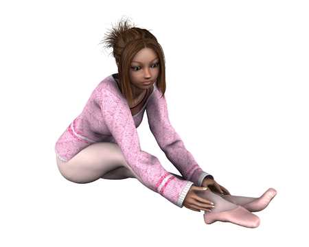 leotard: Illustration of a young dancer in a pink sweater, leotard and tights adjusting her pointe shoes, 3d digitally rendered illustration Stock Photo
