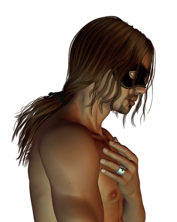 hair mask: Portrait illustration of a young man with a ponytail wearing a Venetian carnival mask, 3d digitally rendered illustration