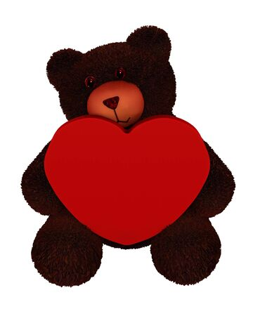 huggable: Illustration of a toy bear holding a Valentine heart with copyspace on heart, 3d digitally rendered illustration
