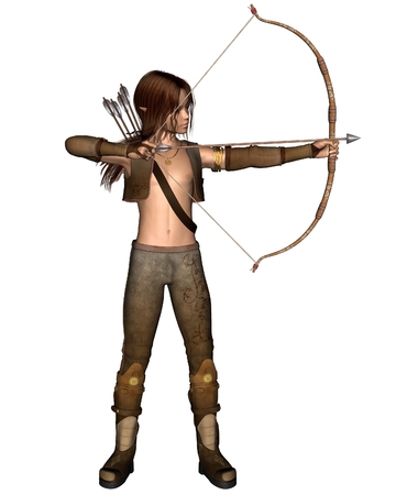 hair bow: Fantasy illustration of a young male elf archer hunting with a bow and arrows, 3d digitally rendered illustration Stock Photo