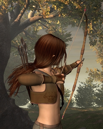 bowman: Fantasy illustration of a young male elf archer hunting in a forest with a bow and arrows, 3d digitally rendered illustration Stock Photo