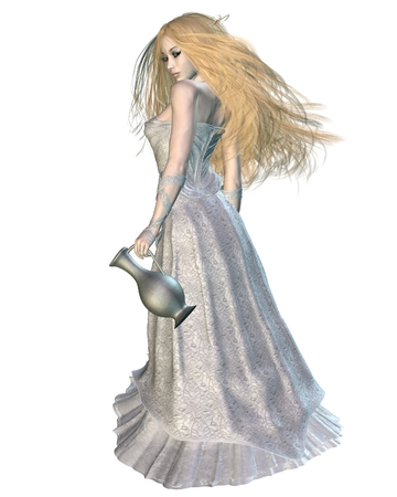 fey: Fantasy illustration of a beautiful elf queen, 3d digitally rendered illustration Stock Photo