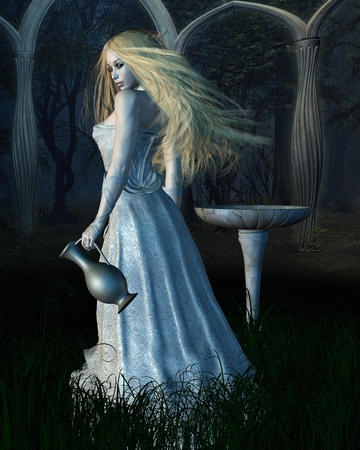 Fantasy illustration of an elf queen in a forest glade, 3d digitally rendered illustration Stock Photo