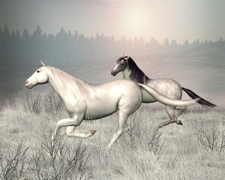 hill distant: Illustration of two horses galloping through a snowy landscape, 3d digitally rendered illustration Stock Photo