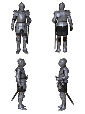 Illustration of a Medieval knight wearing 15th century Milanese armour, set of four character views, 3d digitally rendered illustration Foto de archivo
