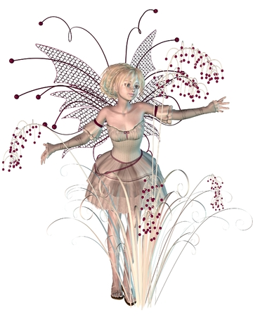 fey: Fantasy illustration of a winter fairy with bright red berries, 3d digitally rendered illustration Stock Photo