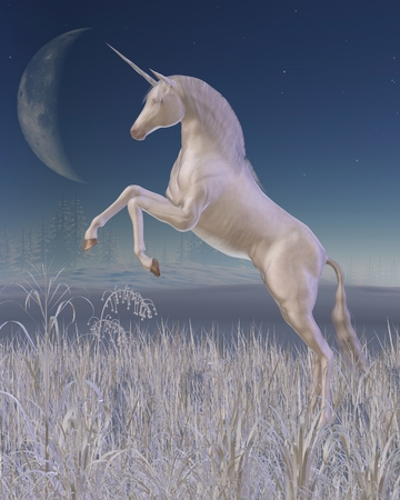 silver grass: Fantasy illustration of a rearing white unicorn in a moonlit winter landscape, 3d digitally rendered illustration