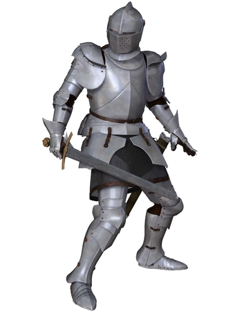 medieval knight: Illustration of a Fifteenth Century late Medieval Knight in Northern Italian Milanese Armour with sword Stock Photo