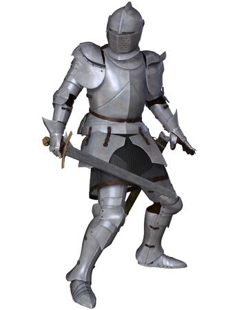 edad media: Ilustración de un caballero medieval a finales del siglo XV en norte italiano armadura de milanés con espada