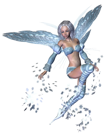 fey: Fantasy illustration of a winter fairy scattering silvery blue snowflakes, 3d digitally rendered illustration