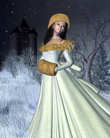 muff:  Fantasy illustration of a snow princess standing in a winter landscape outside a fairytale  Stock Photo