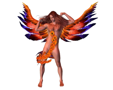 angel 3d: Fantasy illustration of an exotic male angel with colourful wings, 3d digitally rendered illustration Stock Photo