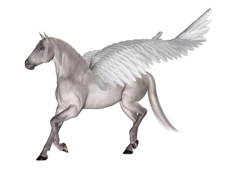 Fantasy illustration of Pegasus the Flying Horse of Greek Mythology, 3d digitally rendered illustration
