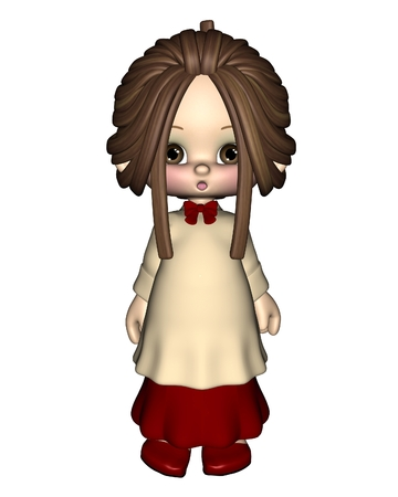 carol singer: Cute toon Christmas Carol Singer or Choir Girl, 3d digitally rendered illustration