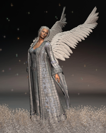 Fantasy illustration of a Christmas Angel in a snowy winter night scene, 3d digitally rencered illustration