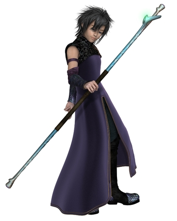 mage: Fantasy illustration of a young male elven sorcerer wearing purple velvet robes and carrying a magic staff, 3d digitally rendered illustration