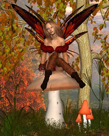 fairy toadstool: Fantasy illustration of an Autumn fairy sitting on a toadstool with woodland background, 3d digitally rendered illustration