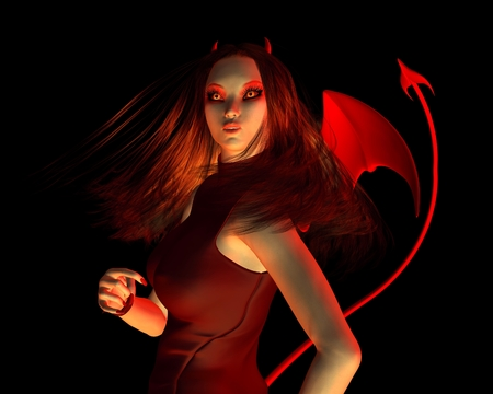 pointed: Fantasy illustration of a beautiful red female devil on a black background in closeup for Halloween, 3d digitally rendered illustration Stock Photo