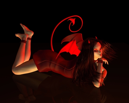 devil horns: Fantasy illustration of a beautiful red female devil on a black background lying on a reflective floor, 3d digitally rendered illustration