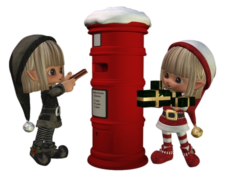 posting: Two cute Christmas elves posting presents in a festive postbox, 3d digitally rendered illustration