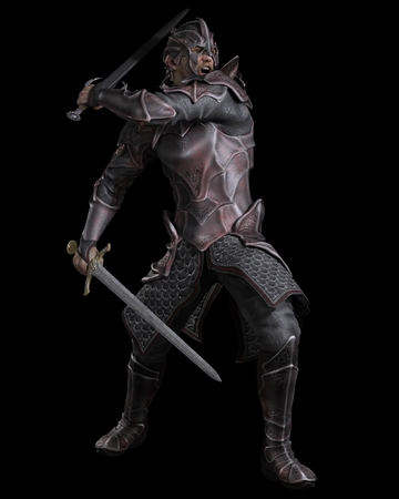 Fantasy illustration of a dark knight with two swords on a black background, 3d digitally rendered illustration Stock Photo