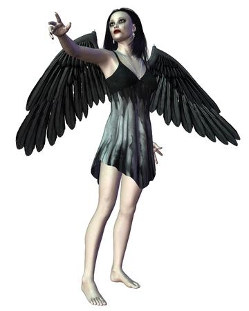 Fantasy illustration of a dark gothic Angel of Death, hand pointing, 3d digitally rendered illustration Stock Photo