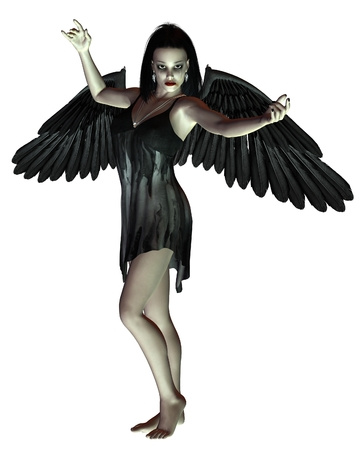 Fantasy illustration of a dark gothic Angel of Death with raised arms, 3d digitally rendered illustration
