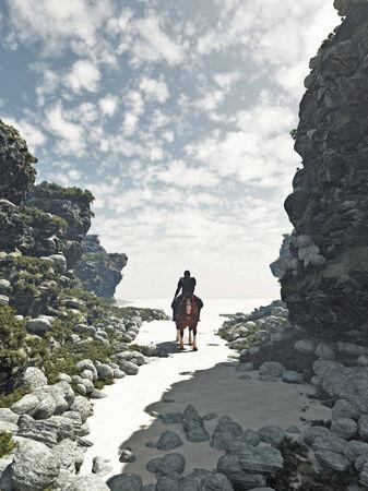 uomo a cavallo: Fantasy illustrazione di un cavaliere solitario in sella fuori dal deserto ardente tra le ombre di una valle rocciosa, 3d digitale reso illustrazione