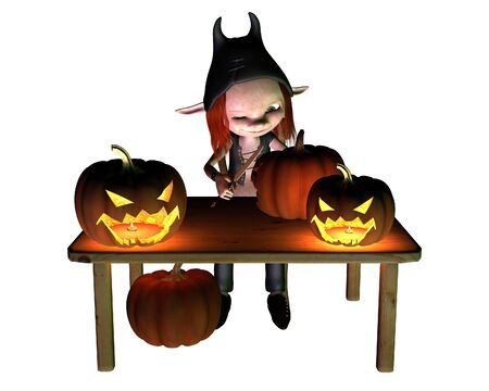 samhain: Little goblin carving spooky Halloween pumpkin lanterns, 3d digitally rendered illustration Stock Photo