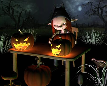 samhain: Little goblin carving spooky Halloween pumpkin lanterns, with dark Halloween background, 3d digitally rendered illustration