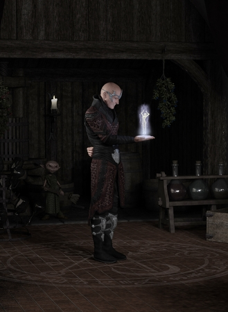 summoning: Fantasy illustration of a sorcerer in his study standing inside a magic circle and summoning a succubus, watched by his goblin servant, 3d digitally rendered illustration